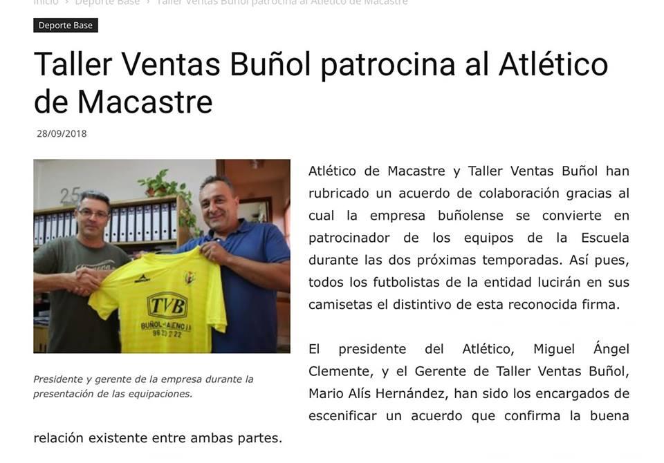 Texto noticia patrocinio atlético de Macastre